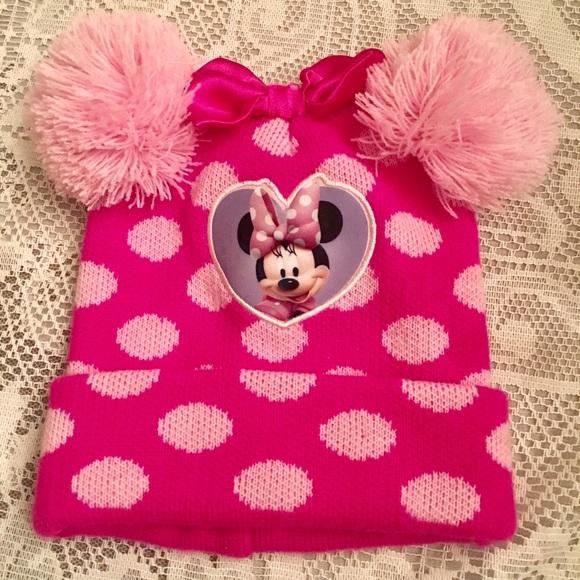 f13e96bd1 Disney Minnie Mouse Pink Knit Hat w Pom Poms & Bow
